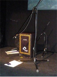 [Stuart Wood's Leiva Cajon Set-Up At Derby Theatre Using Two Dynamic Microphones]