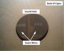 [Cajon snare wires against inside of tapa]